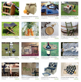 Etsy 'treasury' of picnic artefacts curated to alert fellow makers to my picnic blankets and my customers to the complementary work of fellow makers